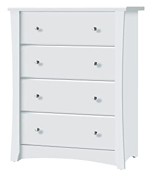 Storkcraft Crescent 4 Drawer Chest, White Kids Bedroom Dresser with 4  Drawers, Wood & Composite Construction, Ideal for Nursery, Toddlers Room,  Kids ...