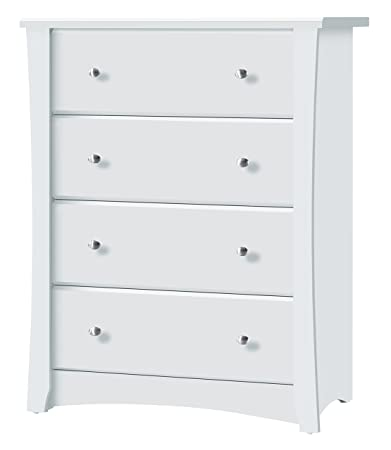 Storkcraft Crescent 4 Drawer Chest White Kids Bedroom Dresser With 4 Drawers Wood