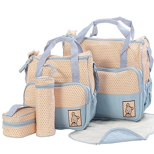SaiDeng Maternal Bebé Colchoneta Comida Pañal Biberón Bolso 5 piezas Set Cielo Azul