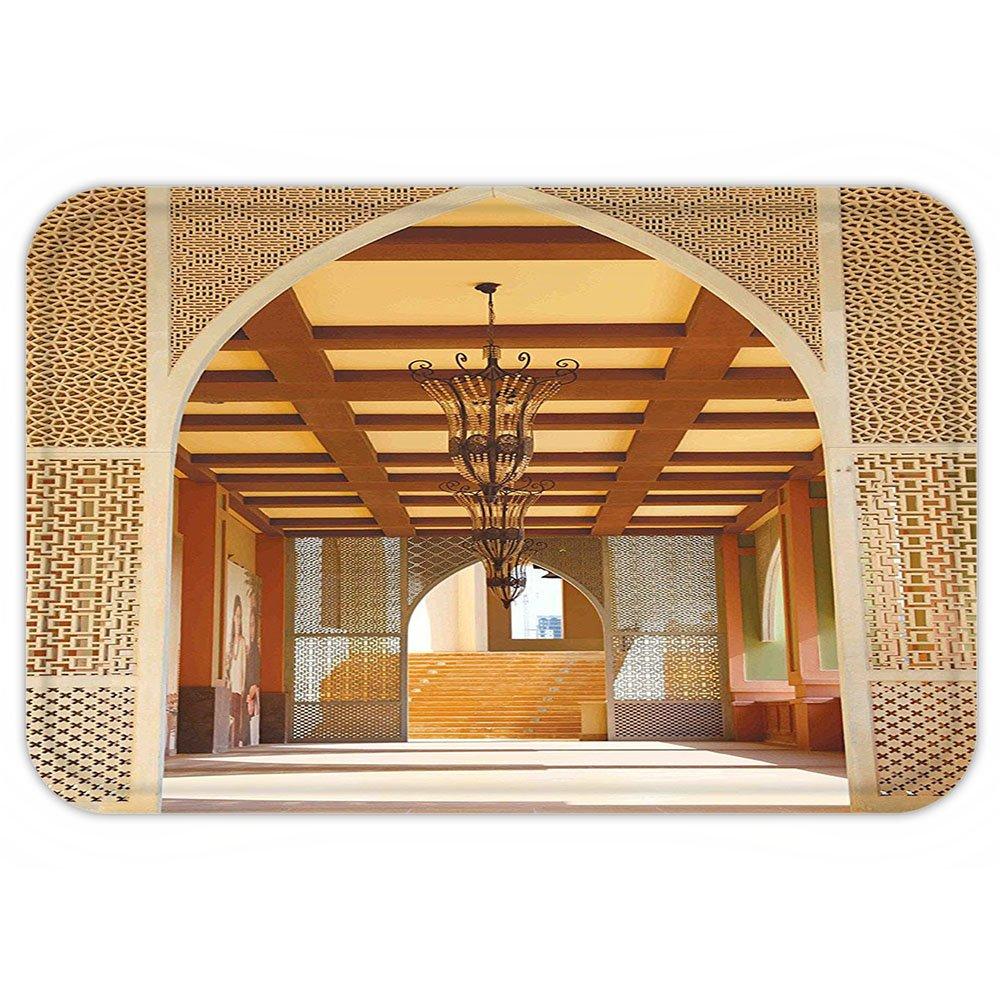 VROSELV Custom Door MatArabian Decor Collection Traditional Arabian Architecture in Doha Qatar Middle East Oriental Landmark Hotel Picture Ivory Peru