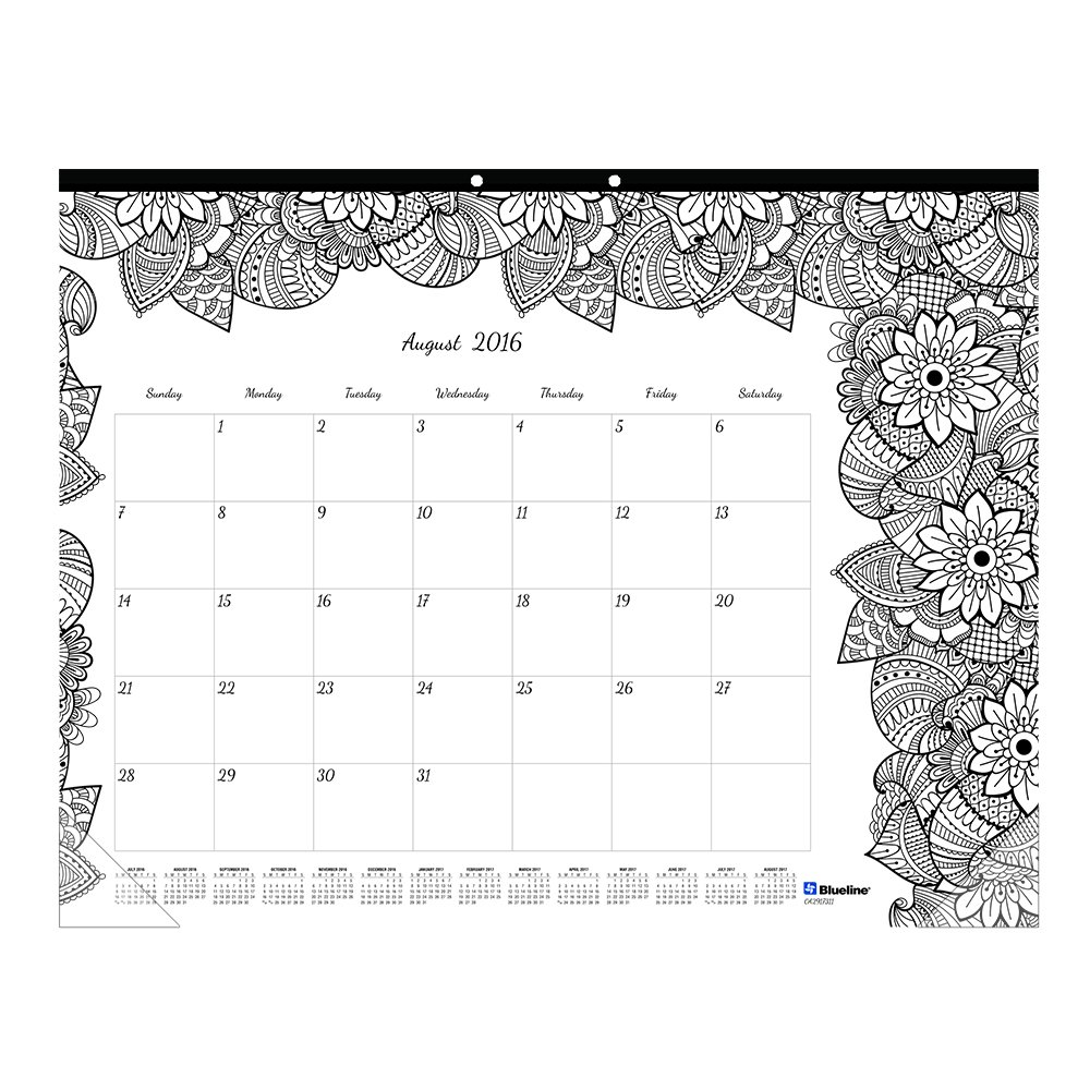 Blueline 2017 Academic Monthly Coloring Desk Pad, Botanica, August to July, 22 x 17'' (CA2917311-17)