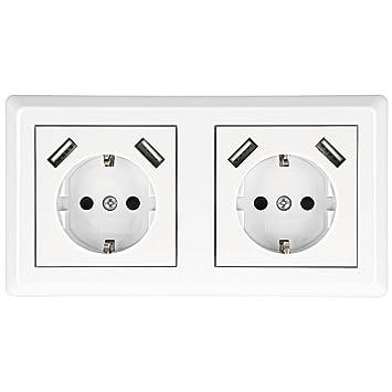 Minadax® Schutzkontakt Doppel-Steckdose mit 4x USB, Passt in 2-fach ...
