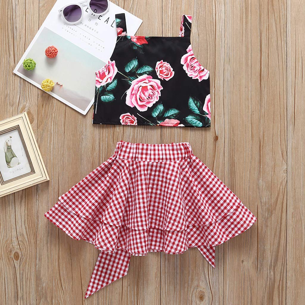 Baby Girl Summer Floral Vest T Shirt Tops Bow Plaid Skirt Outfits Set HANANei 2PCS Girl Outfits