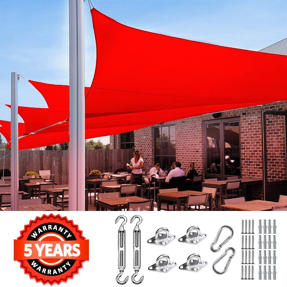 Quictent 24 X24 185GSM Sun Shade Sail Canopy Square 98 UV-Blocked for Patio Outdoor Activities Free Hardware Kit Red