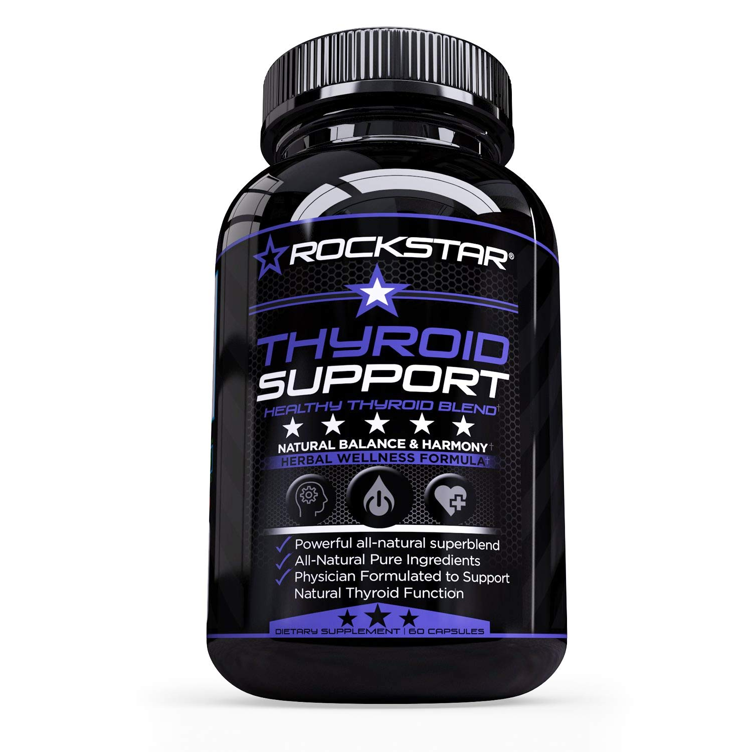 Thyroid Support by Rockstar - Thyroid Extract Blend leads to better Energy, Metabolism & Wellbeing - Vegetarian, Soy & Gluten Free, 60 Veggie Caps