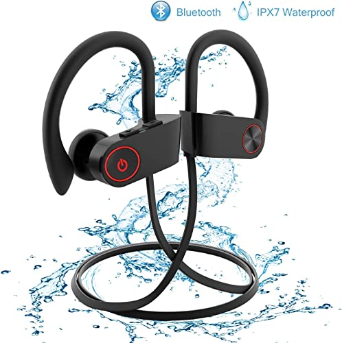 Wireless Earbuds,Bluetooth Earphones Stereo Bass Sports Earphones with Mic IPX7 Waterproof in-Ear Headphones Noise Cancelling Black