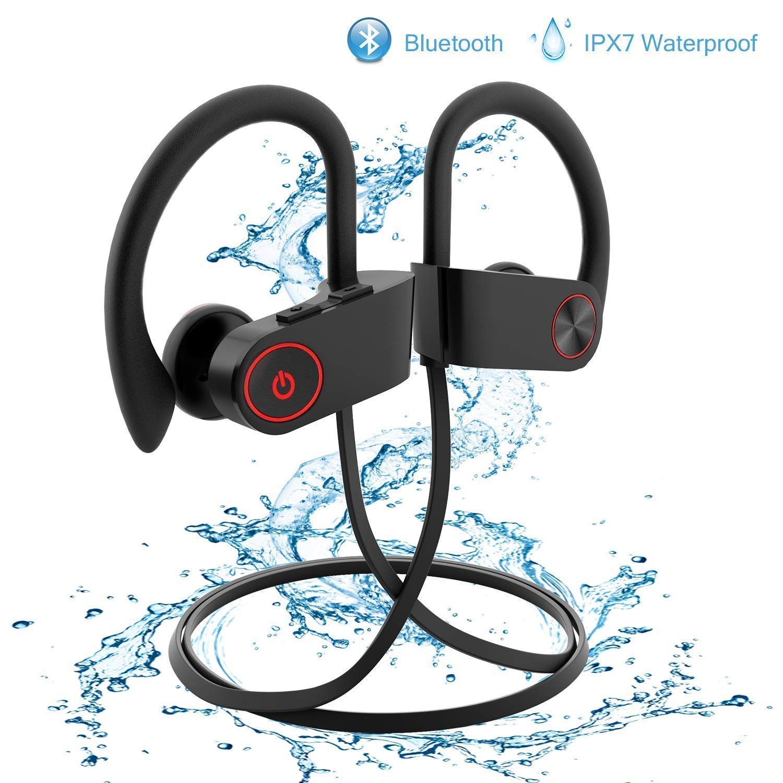 Wireless Earbuds,Bluetooth Earphones Stereo Bass Sports Earphones with Mic IPX7 Waterproof in-Ear Headphones Noise Cancelling Black