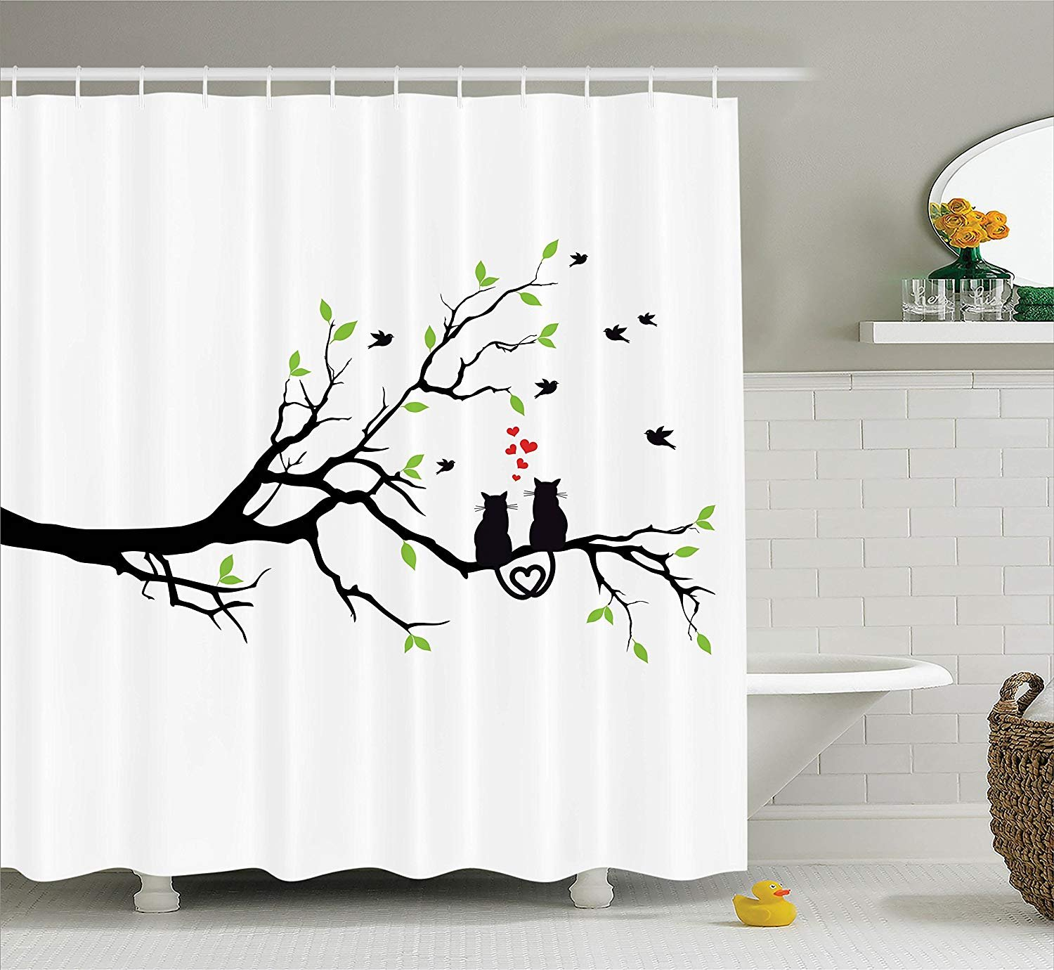 Ambesonne Cat Lover Decor Collection, Cats in Love on Tree Branch with Flying Birds Nature Romance Illustration, Polyester Fabric Bathroom Shower Curtain Set with Hooks, Green Black White
