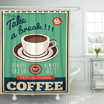 Amazon.com: breezat cortina de ducha Cafe Vintage café Retro ...