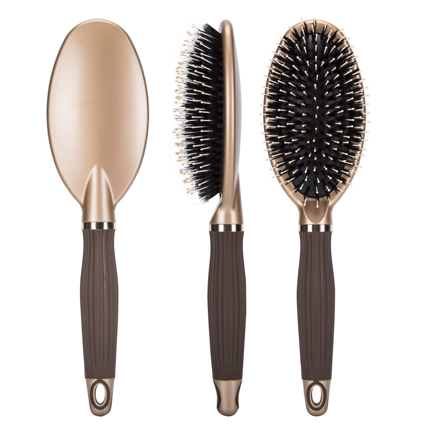 Boar Bristle Paddle Hair Brush,Detangling Brush for Straightening &Smoothing Hair,Designed for Women& Men,for Wet, Dry, Thick, Thin, Curly hair by Janrely