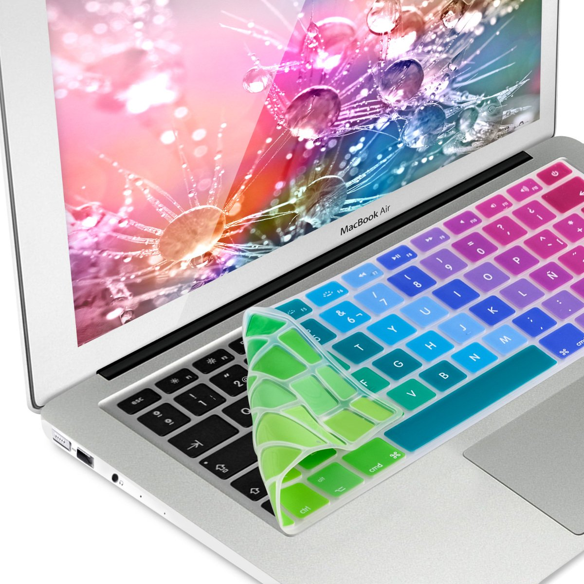 kwmobile Silikon Tastaturschutz QWERTY f/ür Apple MacBook Air 13// Pro Retina 13// 15 ES im Farbverlauf Design Mehrfarbig Gr/ün Blau bis Mitte 2016