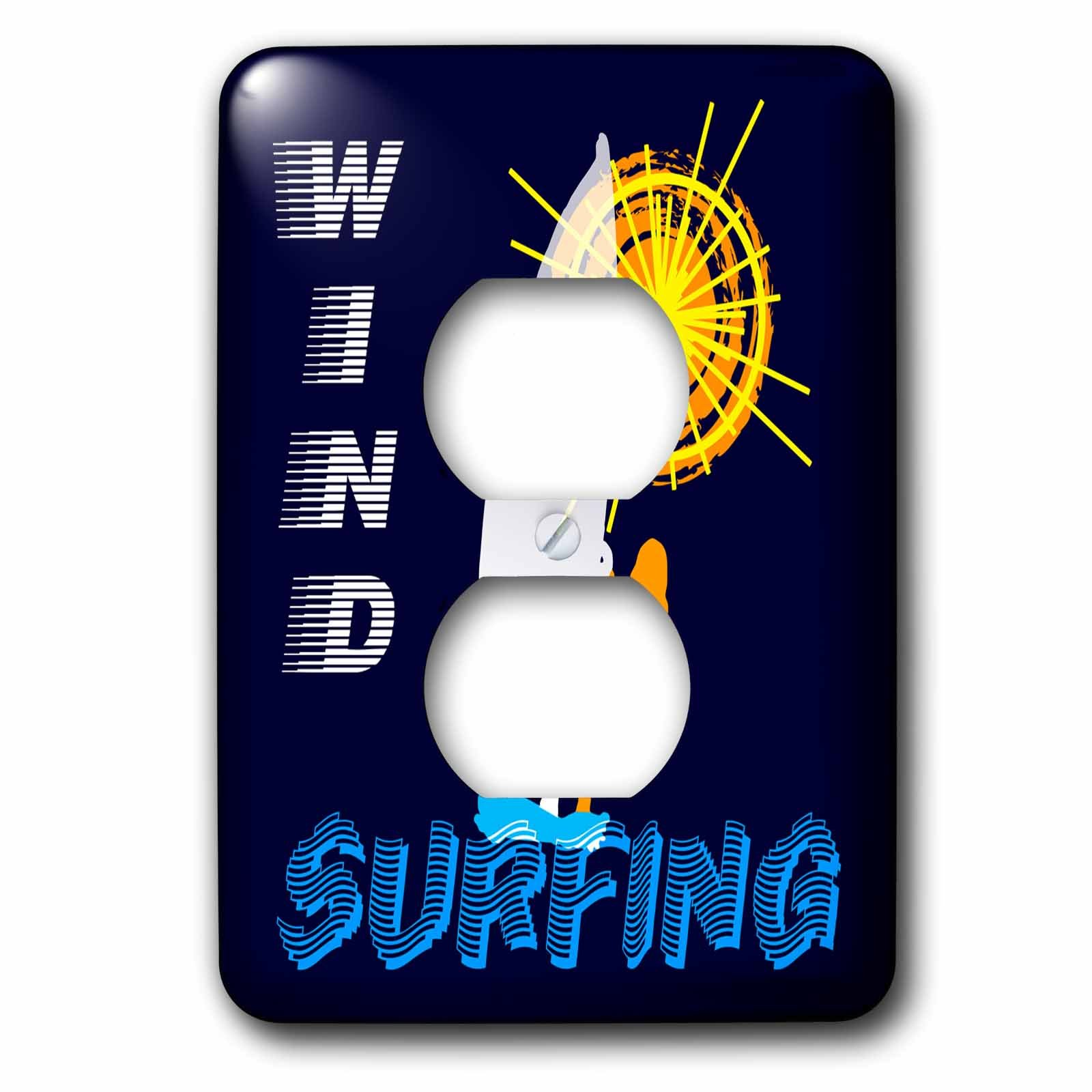 3dRose Alexis Design - Beach, Sea, Surf - Woman wind surfer, text WIND SURFING, orange sun. Good vibes - Light Switch Covers - 2 plug outlet cover (lsp_271765_6)