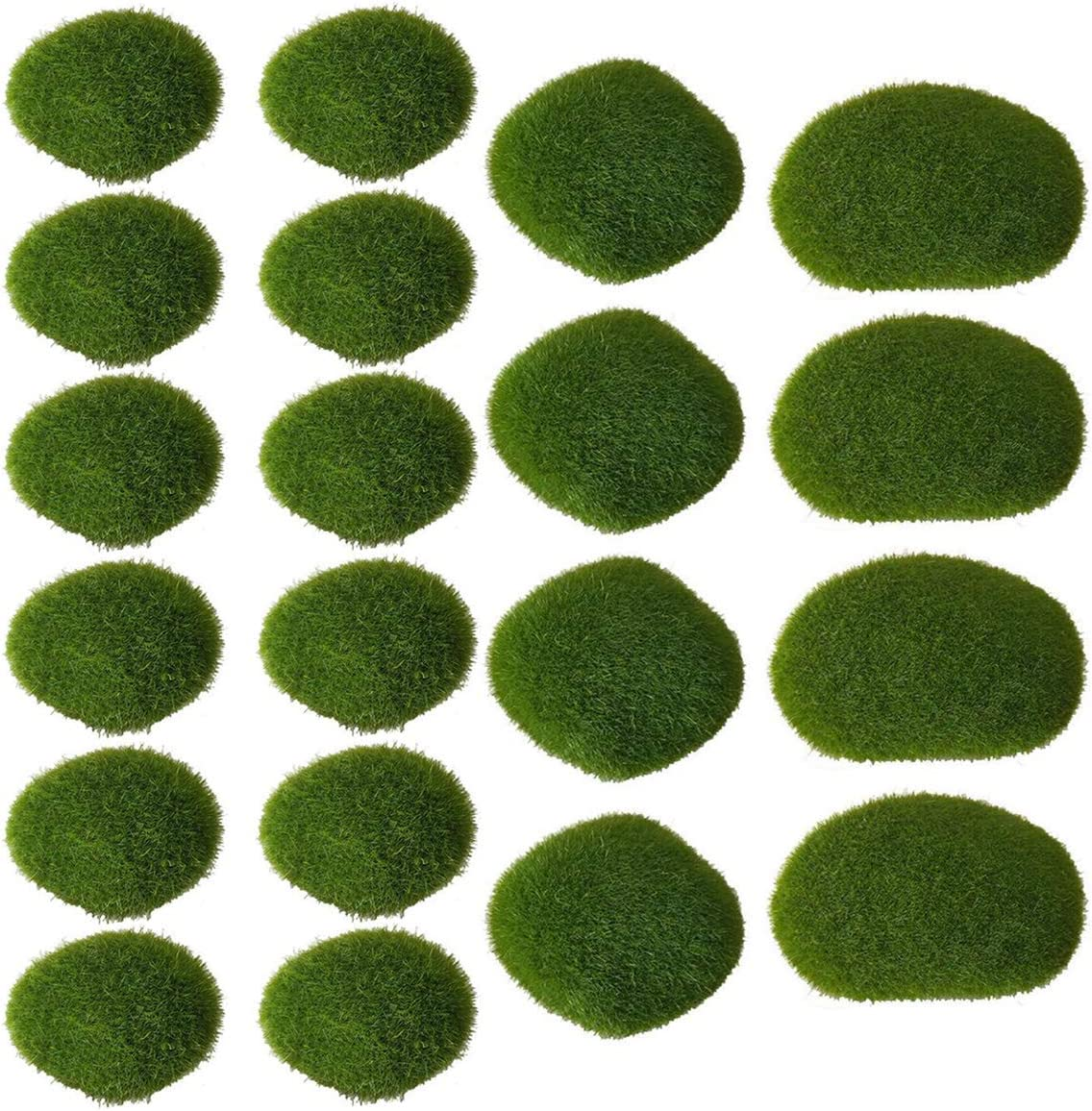 Pupdoge 20 Pcs 3 Sizes Artificial Moss Rocks Decorative Faux Green Moss Covered Stones for Fairy Gardens Crafting Terrariums