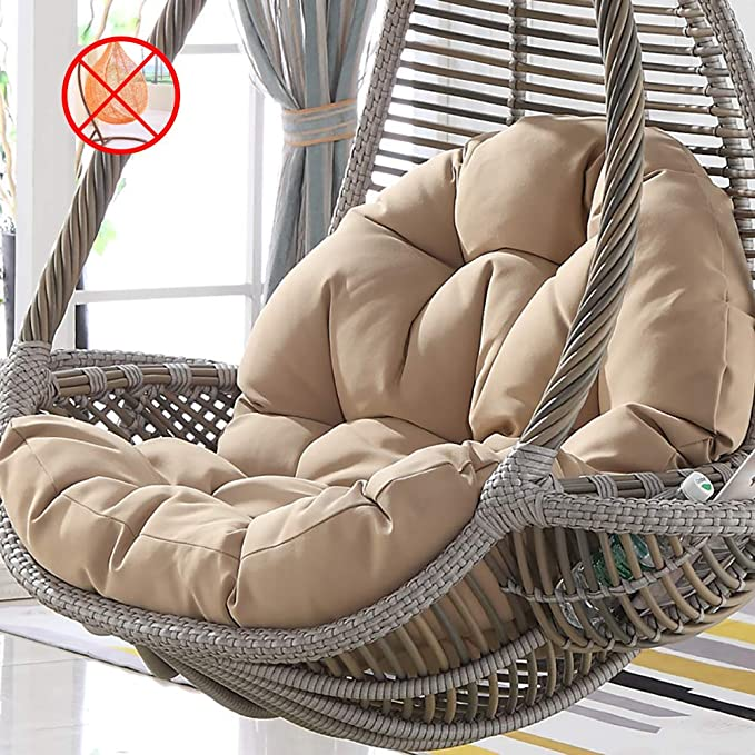DBWIN Furniture thick nest single basket hanging egg hammock chair cushion removable washable universal cradle cushion.rocking chair cushion brown