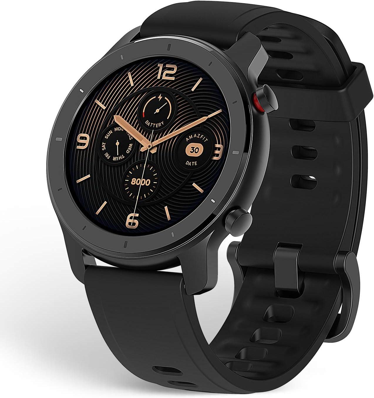 Amazfit GTR 42mm - Reloj Inteligente con frecuencia cardíaca y Seguimiento de Actividad, batería de Larga duración, Negro