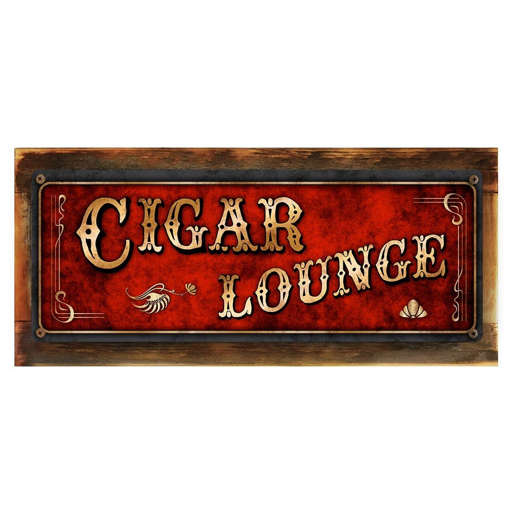 """Framed and Sun Protected Red Cigar Lounge Metal Sign, Framed and Sun Protected 6""""x16'', Art Deco, Vintage, Retro, Game Room, Den, Wall Décor"""