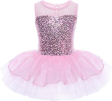 Tut/ú Infantil 3-10 a/ños Freebily Maillot de Ballet Danza Vestido Algod/ón de Princesa con Lentejuelas para Ni/ña