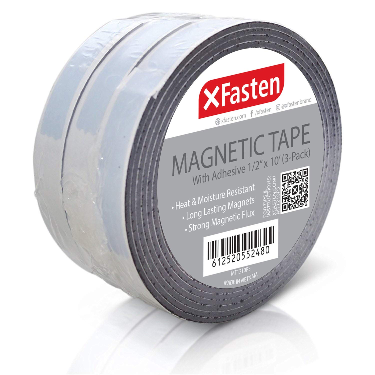 """Adhesive-Backed Craft MAGNET Magnetic Tape Roll Strip 1/"""" x 120/"""" inches 10 Feet"""