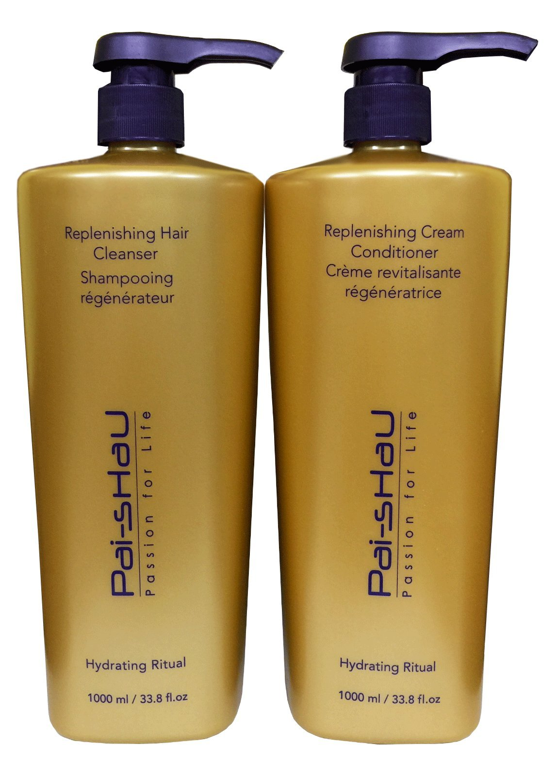 Pai Shau Replenishing Cleanser Shampoo & Cream Conditioner 33.8 Oz / Liter Duo