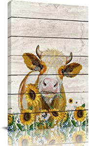 Big buy store Canvas Wall Art Picture Cattle Cow Hold Sunflowers Print On Canvas Giclee Artwork Rustic Wooden Vintage Farm Animal Home Office Decorations Wall Decor Ready to Hang - 12x8 inches