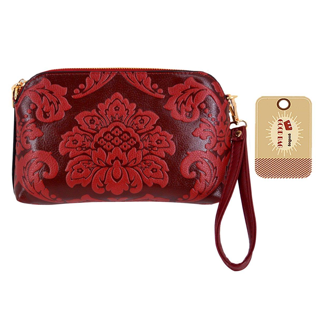 Goodbag Boutique Fashion Floral Embossed Tote Handbag Women Leather Shoulder Bags Wristlets Wallets Crossbody Bag Red