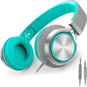 AILIHEN C8 Wired Headphones with Microphone and Volume Control Folding Lightweight Headset for Cellphones Tablets Smartphones Chromebook Laptop Computer PC Mp3/4 (Grey/Mint)
