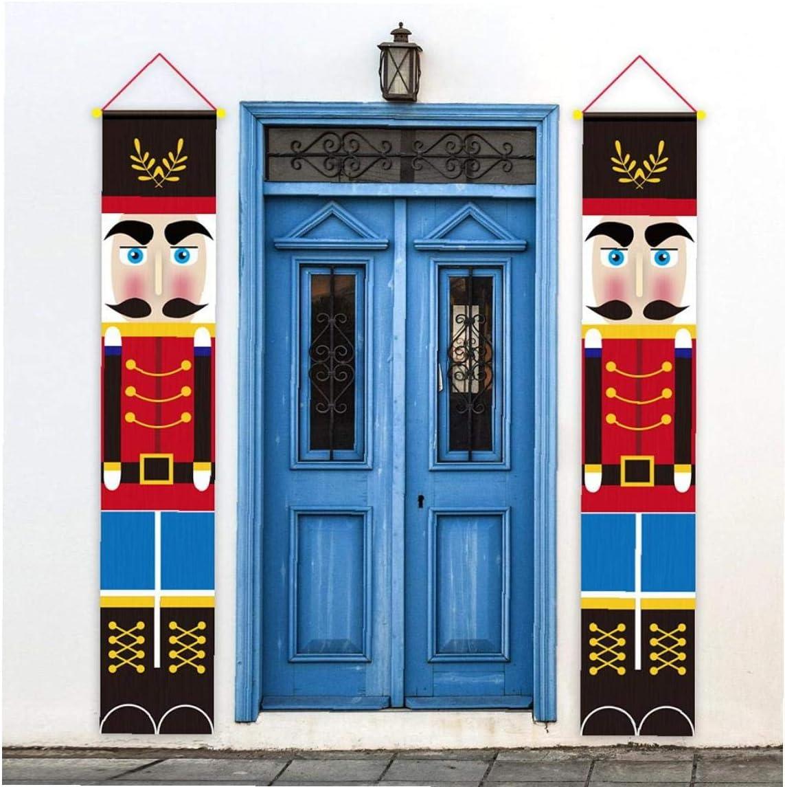LAANCOO Decoraci/ón de Navidad Cascanueces Banner Soldado Modelo de la Puerta Frontal Porche jard/ín Interior al Aire Libre los ni/ños Parte 2 Piezas