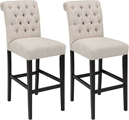 Ashley Furniture Signature Design - Tripton Tall Upholstered Barstool - Set  of 2 - Casual Style - Tan