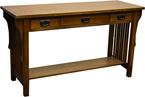 Arts and Crafts Mission Solid Oak Sofa Table with Three Drawers Console Table