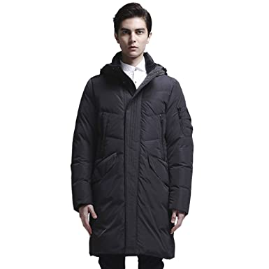 91ab2cb7f CLASNA Men's Winter Puffer Jacket with Hooded Thickened Down Long Coat  Outer Windproof