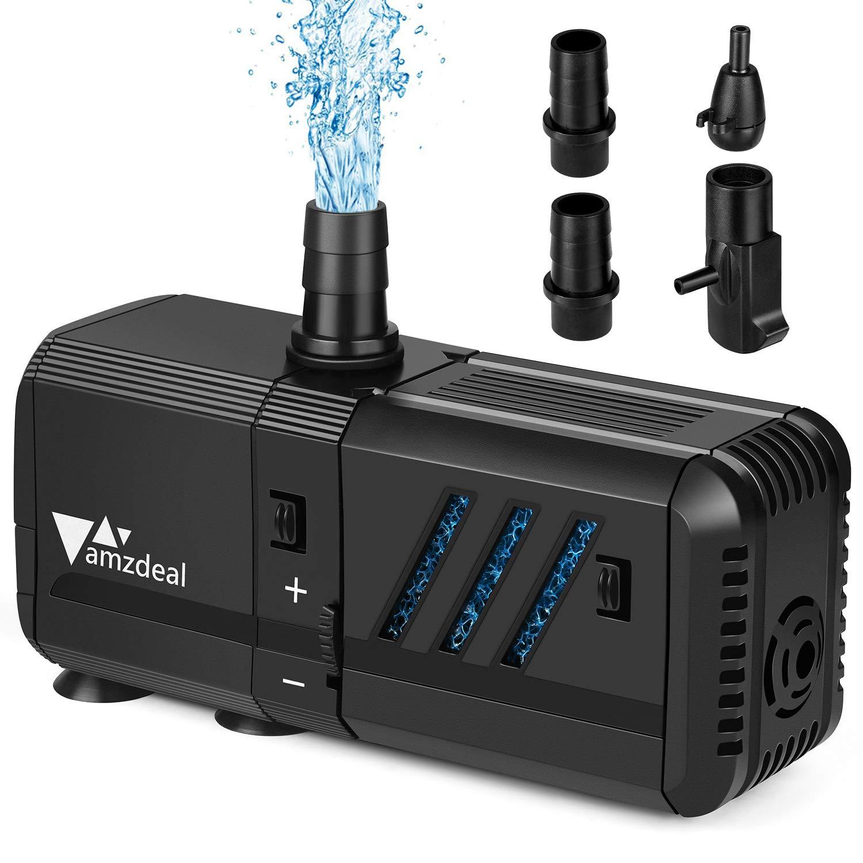 amzdeal Bomba Sumergible 500L/H 6W con Filtro y 2 boquillas, Bomba de Agua