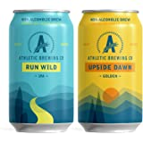 Athletic Brewing Company Non-Alcoholic Beer - Run Wild and Upside Dawn Mixed Case, Craft NA, Low-Calorie, Award Winning, 355m