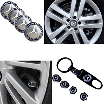 4PCS for Mercedes-Benz Logo Emblem Badge Sticker Wheel Centre Hub Caps Cover +1 Set Metal Car Wheel Tire Valve Stem Caps with Key Chain Combination Set,fit for Mercedes-Benz.: Automotive