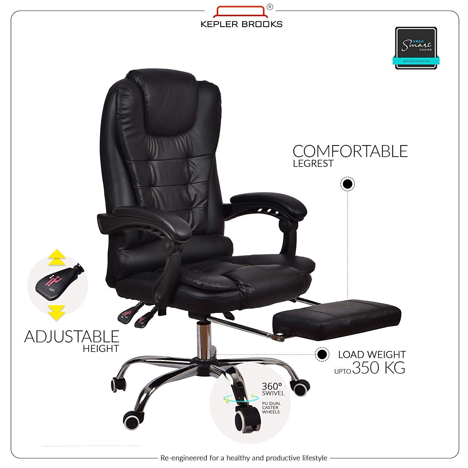 Kepler Brooks Italia High Back Reclining Office Chair with LegRest review