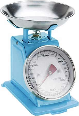 MAZZINGA - Báscula de cocina de diseño retro italiano, 3 kg, balanza de cocina analógica, diseño mecánico,