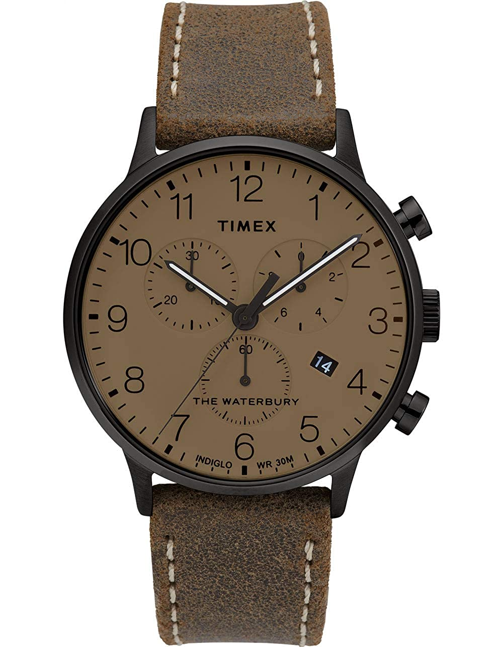 Timex Men's Waterbury Classic Chronograph Leather Strap Watch, Gunmetal/Moss/Tan (300VQ), One Size