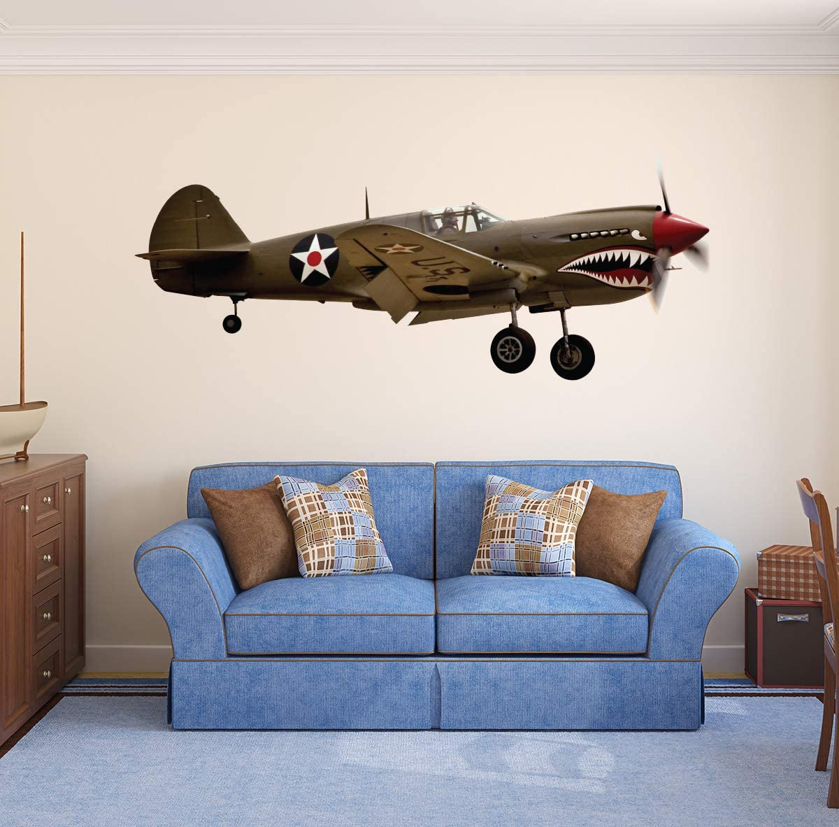 """Aircraft Wall Decal WWII Military Airplane Wall Art World War Graphic Kids Room Home Bedroom Wall Decor Removable Vinyl Wall Stickers ND64 (36""""W x 14""""H inches)"""