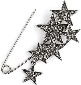 styleBREAKER imperdible de decoración de Mujer con Estrellas de estrás, para Ponchos, pañuelos o chales, alfiler de Seguridad 05050072