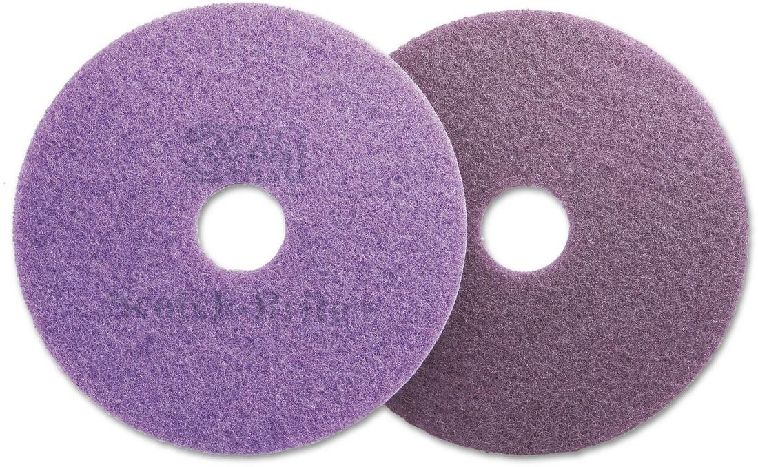 Scotch-Brite Diamond Floor Pads, 19'' Diameter, Purple, 5/Carton