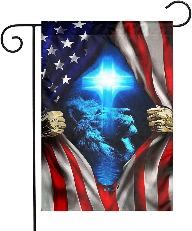 One Nation Under God American Flag Christ Christian Cross Lion Garden Flag Double Sided Yard Outdoor Decor