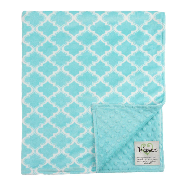 My Blankee Moroccan Mini Tile Minky Throw Blanket, 52'' X 59'', Light Blue