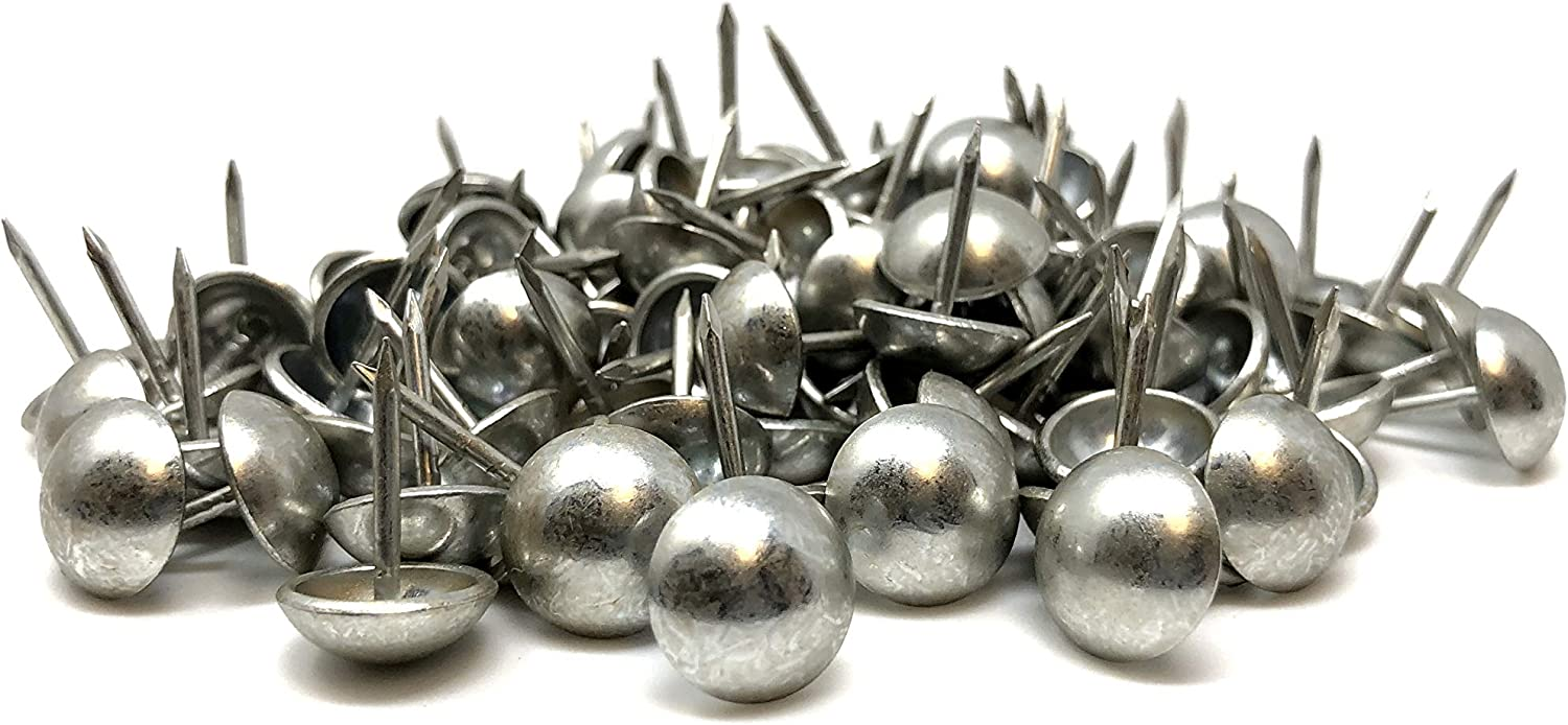 """DMSE Wholesale Size 7/16"""" Diameter (11mm) Hardware Upholstery Furniture Decorative Thumb Push Tacks Nails Pins 100 Pack Pieces (Pewter)"""