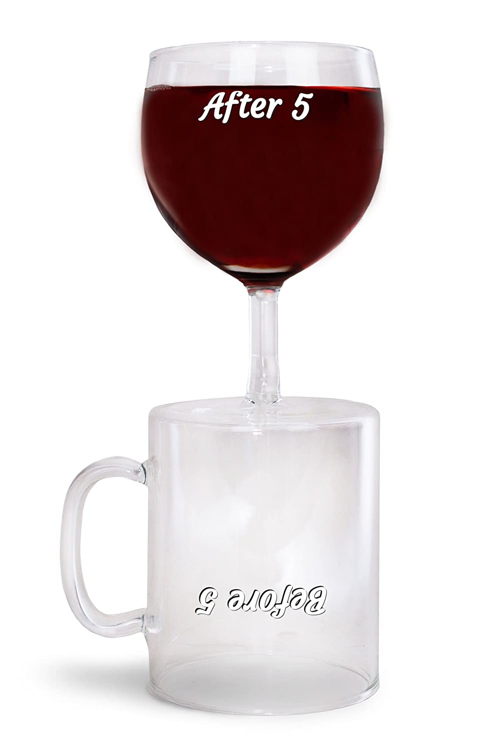 BigMouth Inc Funny Novelty Dual Wine Glass and Coffee Cup - After 5 for Wine
