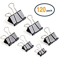 JARLINK Binder Clips Paper Clamp, 120 Pack Binder Clamps Assorted 6 Sizes for Office Supplier School Accessories