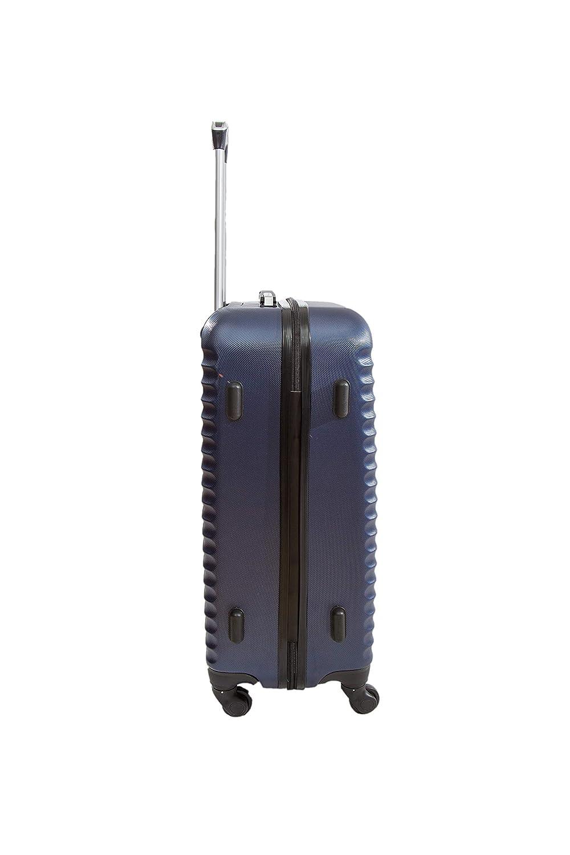 Bleu Valise Moyenne 4 Roues 65cm ABS Rigide Classiq Trolley ADC