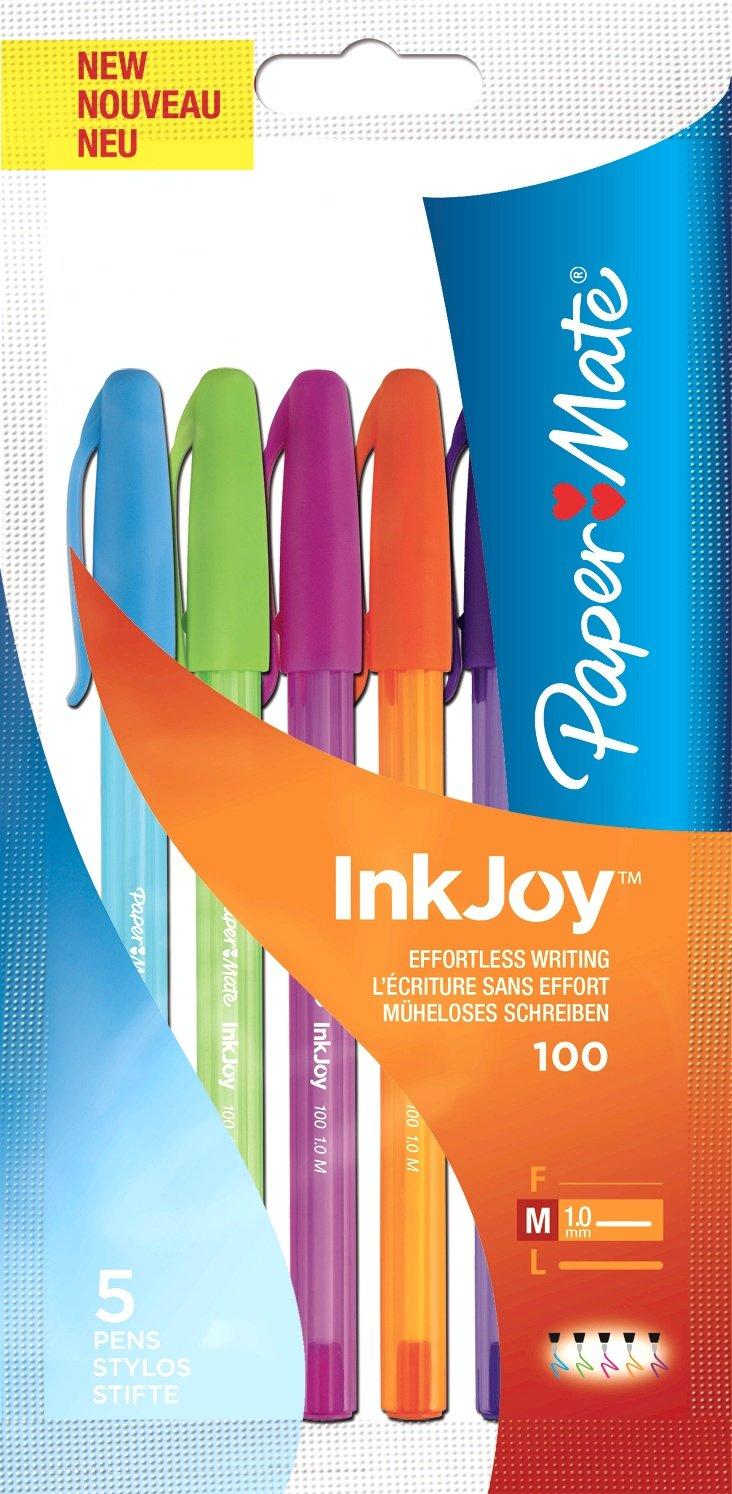 tratto medio colori assortiti Paper Mate Inkjoy 100 Penne a sfera con tappo confezione da 20+7