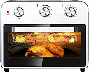 Qisebin Air Fryer Toaster Oven 21 Quart Large Convection Toaster Oven Countertop Stainless Steel Finish, Air Fry, Roast, Toast