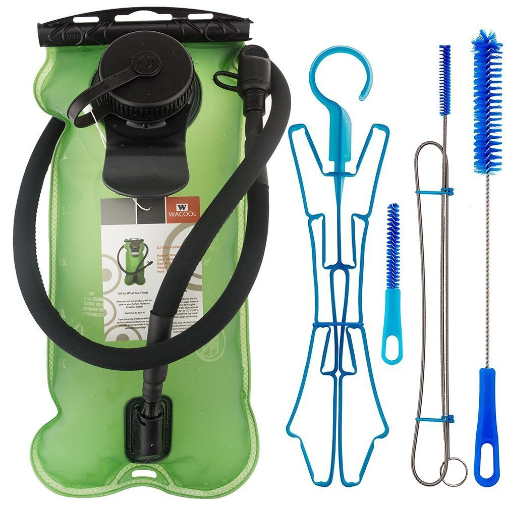 WACOOL 3L 3Liter 100oz BPA Free EVA Hydration Pack Bladder, Leak-Proof Water Reservoir (Green(Double Opening) with Clean Kit) by WACOOL