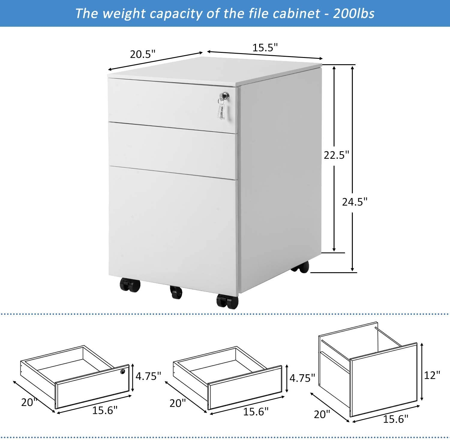 3 Drawer File Cabinet Locking File Cabinet Metal Office Cabinet with Lock Fully Assembled Except Wheels White