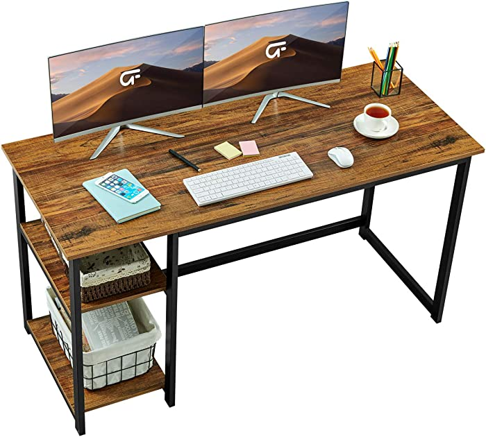 """GreenForest Computer Desk 47"""" Writing Table with 2-Tier Reversible Storage Shelves, Home Office PC Workstation Study Gaming Desk, Walnut"""